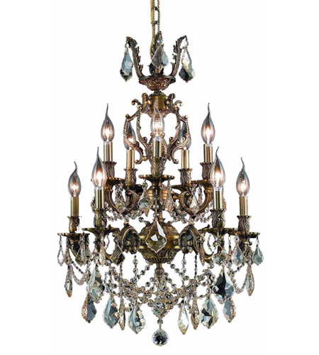 Elegant Lighting 9510D21AB-GS/SS Marseille 10 Light 21 inch Antique Bronze Dining Chandelier Ceiling Light in Golden Shadow, Swarovski Strass photo