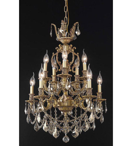 Elegant Lighting Marseille 10 Light Dining Chandelier in French Gold with Royal Cut Golden Teak Crystal 9510D21FG-GT/RC photo