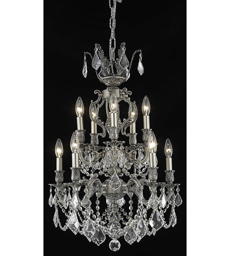Elegant Lighting Marseille 10 Light Dining Chandelier in Pewter with Royal Cut Clear Crystal 9510D21PW/RC photo