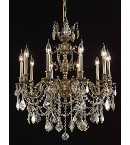 Elegant Lighting Marseille 10 Light Dining Chandelier in Antique Bronze with Royal Cut Golden Shadow Crystal 9510D28AB-GS/RC photo