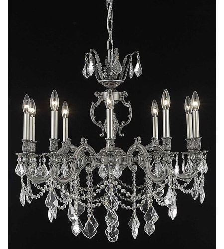 Elegant Lighting 9510D28PW/SS Marseille 10 Light 28 inch Pewter Dining Chandelier Ceiling Light in Clear, Swarovski Strass photo