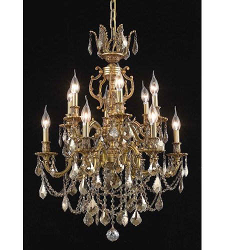 Elegant Lighting Marseille 12 Light Dining Chandelier in French Gold with Royal Cut Golden Teak Crystal 9512D24FG-GT/RC photo