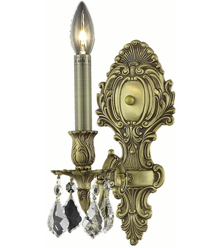 Elegant Lighting Monarch 1 Light Wall Sconce in French Gold with Swarovski Strass Clear Crystal 9601W5FG/SS photo