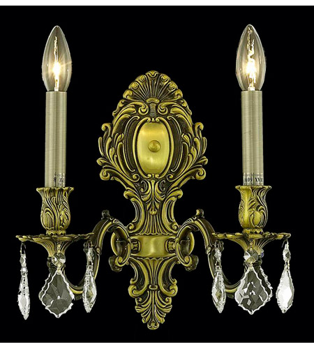 Elegant Lighting 9602W10AB-GS/SS Monarch 2 Light 10 inch Antique Bronze Wall Sconce Wall Light in Golden Shadow, Swarovski Strass photo