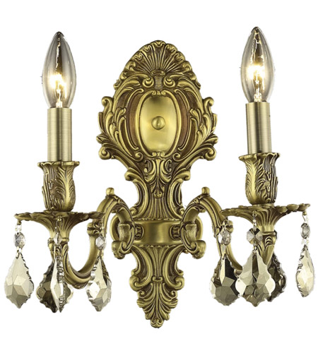 Elegant Lighting 9602W10FG-GT/SS Monarch 2 Light 10 inch French Gold Wall Sconce Wall Light in Golden Teak, Swarovski Strass photo