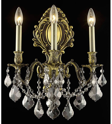Elegant Lighting Monarch 3 Light Wall Sconce in Antique Bronze with Royal Cut Silver Shade Crystal 9603W14AB-SS/RC photo
