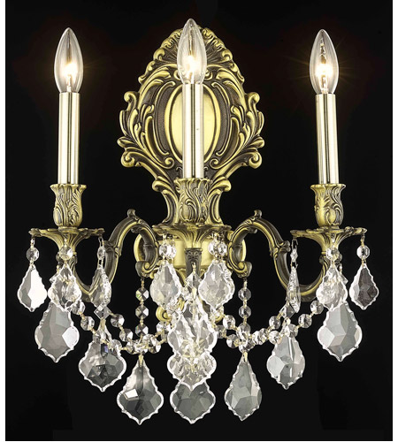 Elegant Lighting Monarch 3 Light Wall Sconce in Antique Bronze with Swarovski Strass Clear Crystal 9603W14AB/SS photo