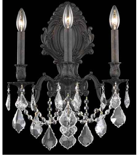 Elegant Lighting 9603W14DB/SS Monarch 3 Light 14 inch Dark Bronze Wall Sconce Wall Light in Clear, Swarovski Strass photo