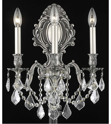 Elegant Lighting 9603W14PW/EC Monarch 3 Light 14 inch Pewter Wall Sconce Wall Light in Clear, Elegant Cut photo