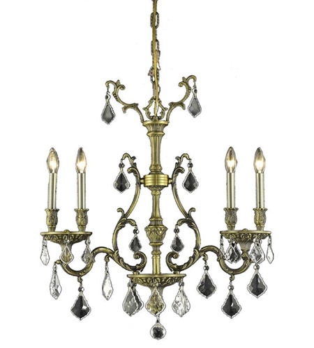 Elegant Lighting Monarch 4 Light Dining Chandelier in Antique Bronze with Royal Cut Clear Crystal 9604D26AB/RC photo