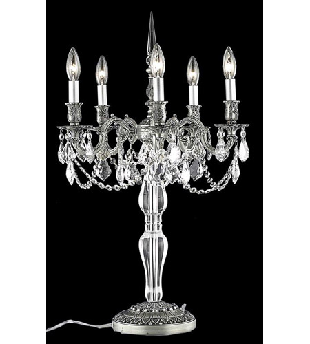 Elegant Lighting Monarch 5 Light Table Lamp in Pewter with Swarovski Strass Clear Crystal 9605TL18PW/SS photo