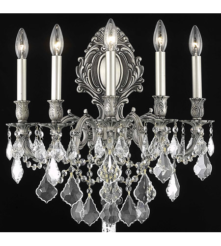 Elegant Lighting Monarch 5 Light Wall Sconce in Pewter with Spectra Swarovski Clear Crystal 9605W21PW/SA photo