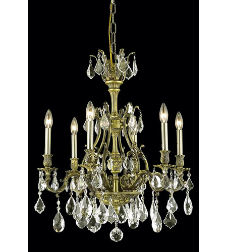Elegant Lighting Monarch 6 Light Dining Chandelier in Antique Bronze with Royal Cut Golden Shadow Crystal 9606D24AB-GS/RC photo