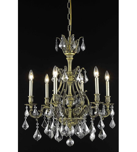 Elegant Lighting Monarch 6 Light Dining Chandelier in Antique Bronze with Royal Cut Silver Shade Crystal 9606D24AB-SS/RC photo