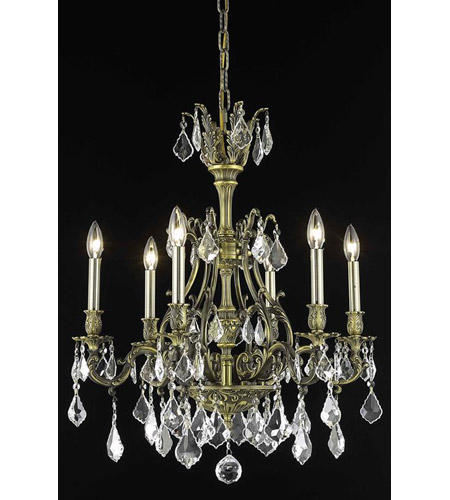 Elegant Lighting Monarch 6 Light Dining Chandelier in Antique Bronze with Elegant Cut Clear Crystal 9606D24AB/EC photo