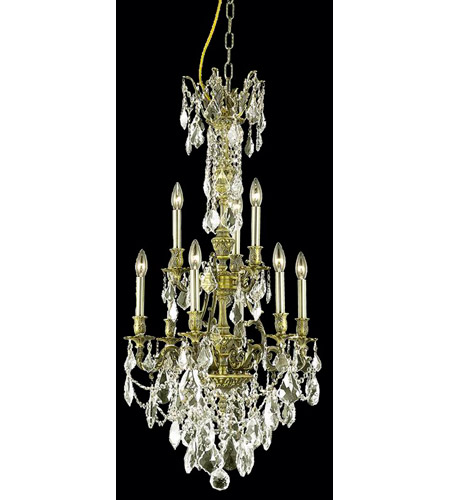 Elegant Lighting Monarch 9 Light Dining Chandelier in Antique Bronze with Royal Cut Golden Shadow Crystal 9609D21AB-GS/RC photo