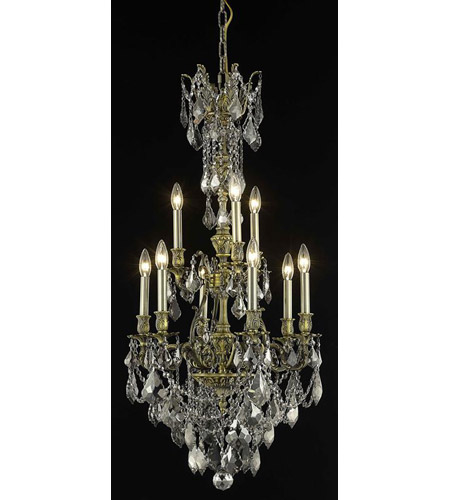 Elegant Lighting 9609D21AB-SS/SS Monarch 9 Light 21 inch Antique Bronze Dining Chandelier Ceiling Light photo