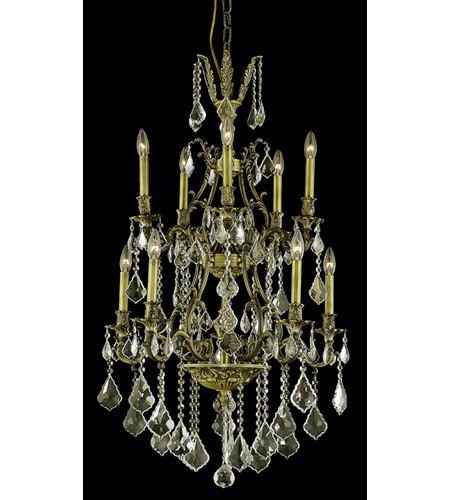Elegant Lighting Monarch 10 Light Dining Chandelier in Antique Bronze with Swarovski Strass Golden Shadow Crystal 9610D26AB-GS/SS photo