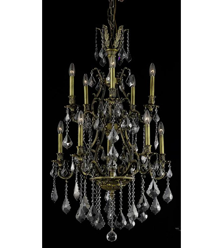 Elegant Lighting 9610D26AB-SS/RC Monarch 10 Light 26 inch Antique Bronze Dining Chandelier Ceiling Light photo