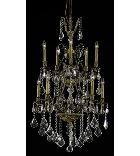 Elegant Lighting 9610D26AB/SS Monarch 10 Light 26 inch Antique Bronze Dining Chandelier Ceiling Light photo