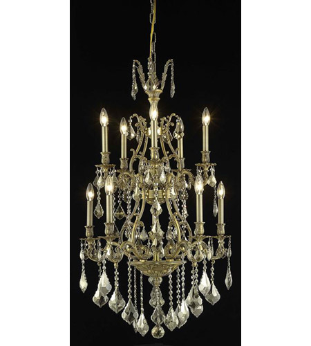 Elegant Lighting Monarch 10 Light Dining Chandelier in French Gold with Royal Cut Golden Teak Crystal 9610D26FG-GT/RC photo