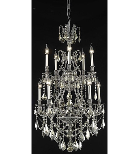 Elegant Lighting Monarch 10 Light Dining Chandelier in Pewter with Swarovski Strass Golden Teak Crystal 9610D26PW-GT/SS photo