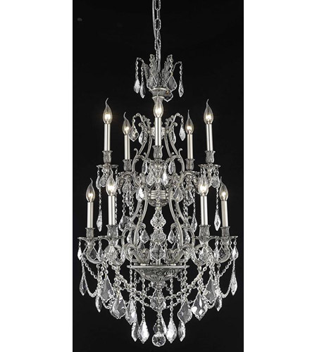 Elegant Lighting Monarch 10 Light Dining Chandelier in Pewter with Spectra Swarovski Clear Crystal 9610D26PW/SA photo