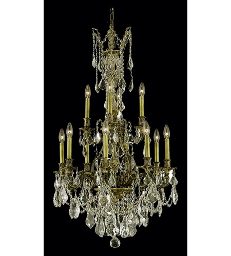 Elegant Lighting Monarch 12 Light Dining Chandelier in Antique Bronze with Royal Cut Golden Shadow Crystal 9612D25AB-GS/RC photo