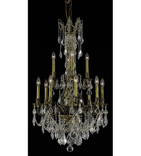 Elegant Lighting 9612D25AB/RC Monarch 12 Light 25 inch Antique Bronze Dining Chandelier Ceiling Light photo