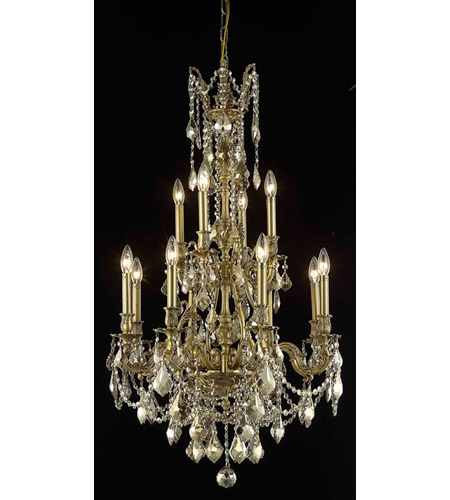 Elegant Lighting Monarch 12 Light Dining Chandelier in French Gold with Royal Cut Golden Teak Crystal 9612D25FG-GT/RC photo