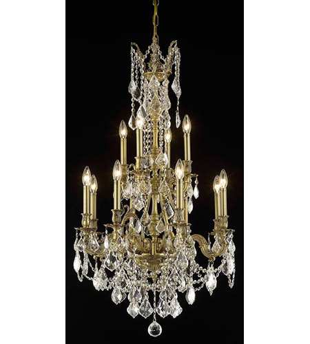 Elegant Lighting Monarch 12 Light Dining Chandelier in French Gold with Spectra Swarovski Clear Crystal 9612D25FG/SA photo