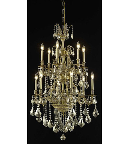 Elegant Lighting Monarch 12 Light Dining Chandelier in French Gold with Swarovski Strass Golden Teak Crystal 9612D27FG-GT/SS photo