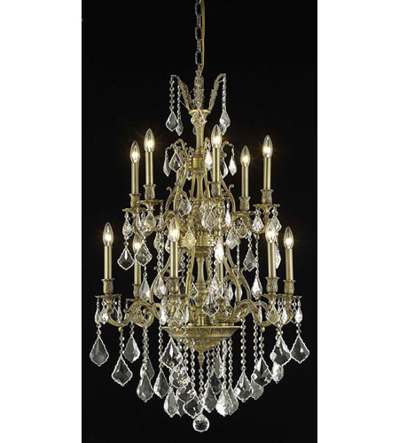 Elegant Lighting Monarch 12 Light Dining Chandelier in French Gold with Spectra Swarovski Clear Crystal 9612D27FG/SA photo