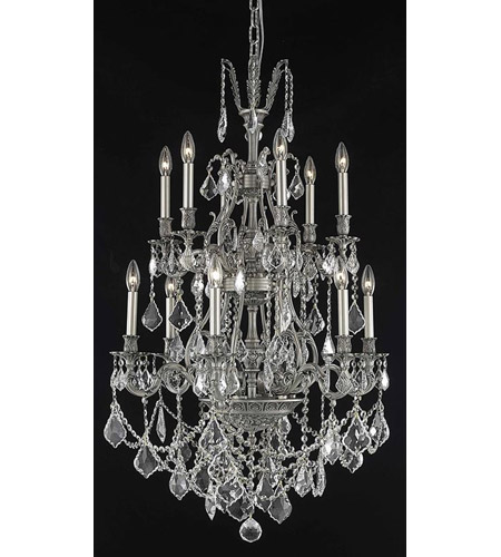 Elegant Lighting Monarch 12 Light Dining Chandelier in Pewter with Royal Cut Clear Crystal 9612D27PW/RC photo