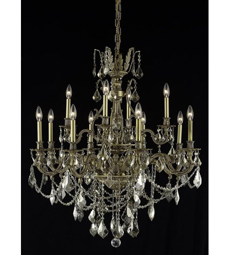 Elegant Lighting Monarch 12 Light Dining Chandelier in French Gold with Swarovski Strass Golden Teak Crystal 9612D35FG-GT/SS photo