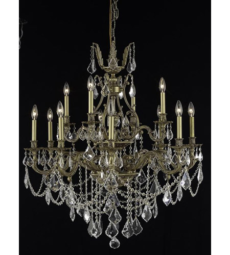 Elegant Lighting Monarch 12 Light Dining Chandelier in French Gold with Royal Cut Clear Crystal 9612D35FG/RC photo