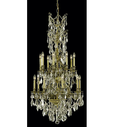 Elegant Lighting 9616D27AB-GS/SS Monarch 16 Light 27 inch Antique Bronze Dining Chandelier Ceiling Light photo