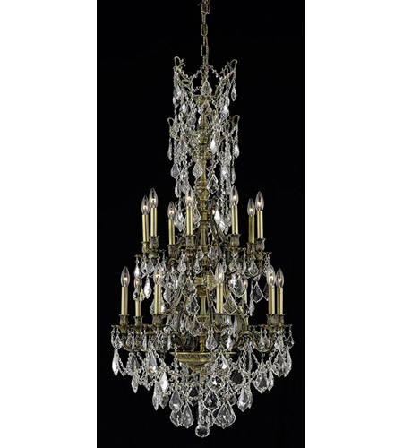 Elegant Lighting Monarch 16 Light Dining Chandelier in Antique Bronze with Royal Cut Clear Crystal 9616D27AB/RC photo
