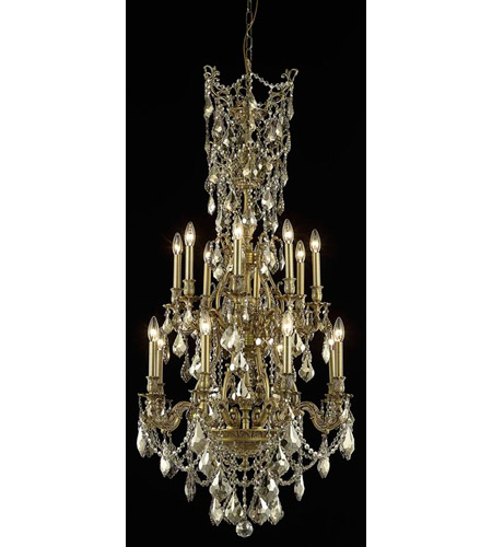 Elegant Lighting Monarch 16 Light Dining Chandelier in French Gold with Royal Cut Golden Teak Crystal 9616D27FG-GT/RC photo