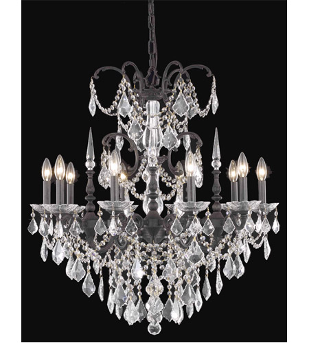 Elegant Lighting 9710D30DB/RC Athena 10 Light 30 inch Dark Bronze Dining Chandelier Ceiling Light in Clear, Royal Cut photo
