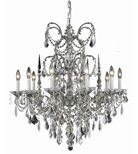 Elegant Lighting Athena 10 Light Dining Chandelier in Pewter with Royal Cut Golden Teak Crystal 9710D30PW-GT/RC photo
