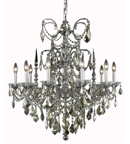 Elegant Lighting Athena 10 Light Dining Chandelier in Pewter with Elegant Cut Clear Crystal 9710D30PW/EC photo