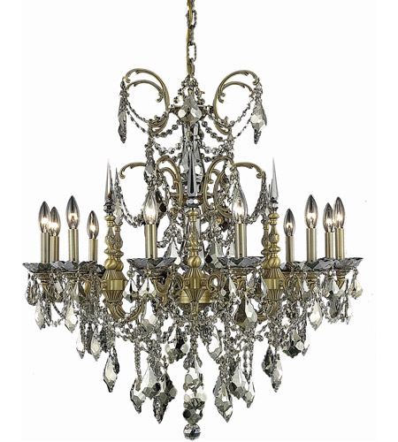 Elegant Lighting Athena 12 Light Dining Chandelier in French Gold with Royal Cut Golden Teak Crystal 9712D32FG-GT/RC photo