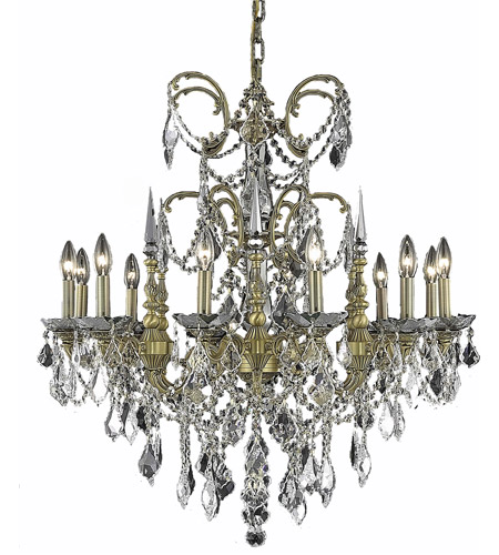 Elegant Lighting 9712D32FG/RC Athena 12 Light 32 inch French Gold Dining Chandelier Ceiling Light in Clear, Royal Cut photo