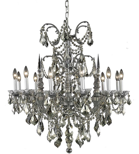 Elegant Lighting 9712D32PW-GT/RC Athena 12 Light 32 inch Pewter Dining Chandelier Ceiling Light in Golden Teak, Royal Cut photo