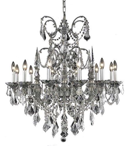 Elegant Lighting 9712D32PW/RC Athena 12 Light 32 inch Pewter Dining Chandelier Ceiling Light in Clear, Royal Cut photo