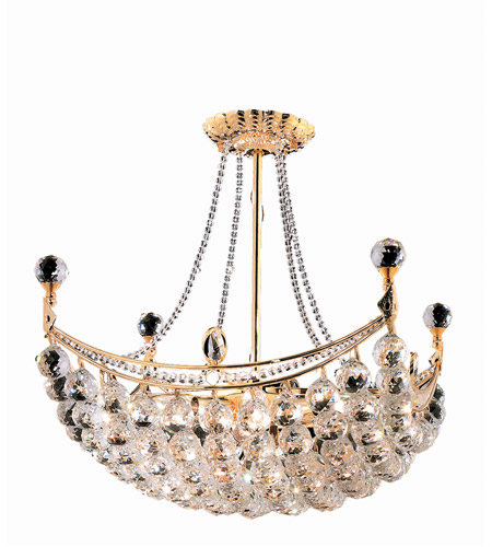 Elegant Lighting Corona 8 Light Dining Chandelier in Gold with Swarovski Strass Clear Crystal 9800D20G/SS photo