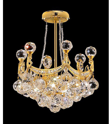 Elegant Corona 4 Light Pendant in Gold with Crystal (Clear) Royal Cut Crystals 9801D14G/RC photo