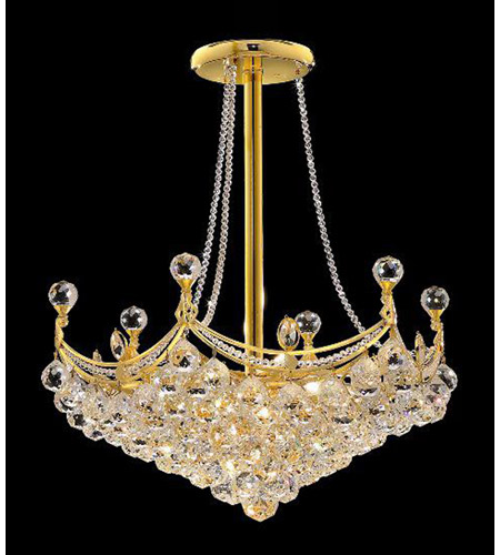 Elegant Corona 8 Light Pendant in Gold with Crystal (Clear) Royal Cut Crystals 9801D24G/RC photo