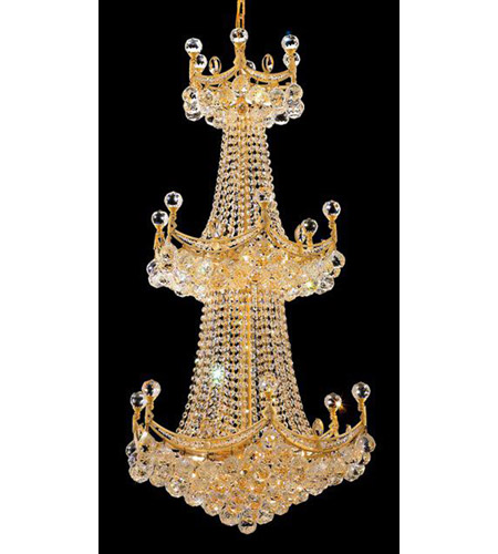 Elegant Lighting 9801G24G/RC Corona 20 Light 24 inch Gold Chandelier Ceiling Light in Royal Cut photo